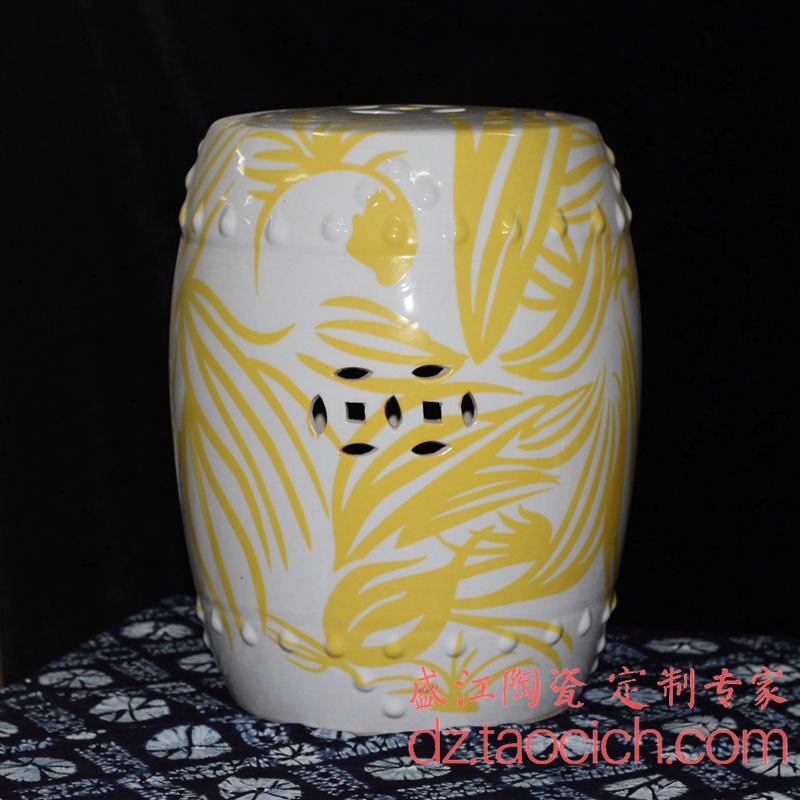 定制定做陶瓷 黄色水草条纹 白色凉墩瓷凳陶瓷凳子-景德镇盛江陶瓷