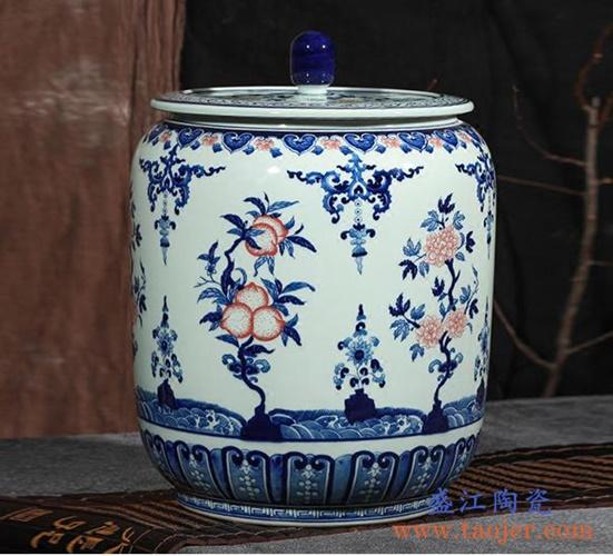 青花釉里红仙桃冬瓜带盖茶叶罐