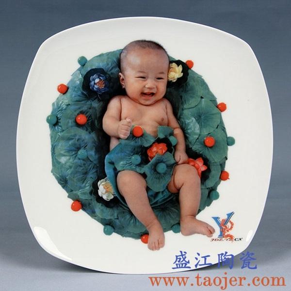 上图:盛江陶瓷 定制激光打印瓷像瓷板影像技术小型瓷板——小孩周岁满月纪念瓷板画 购买定制请点击图片