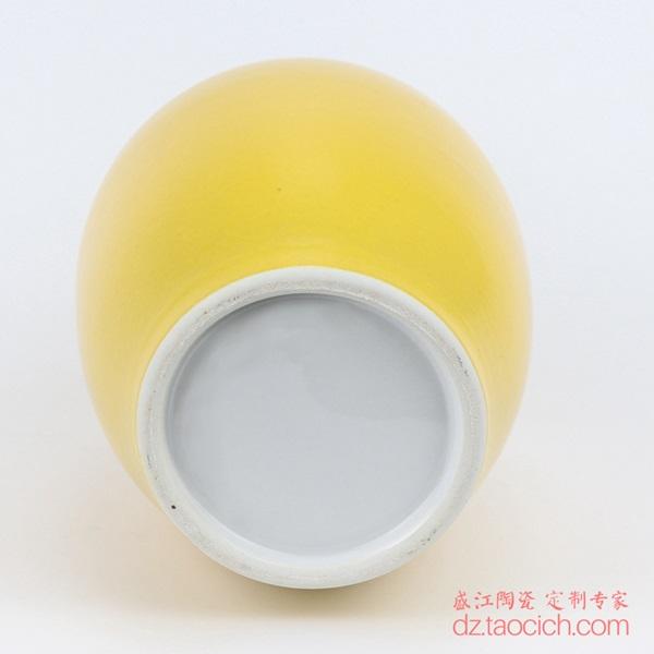 上图:盛江陶瓷定制颜色釉黄釉大花瓶天球瓶 底部 购买请点击图片