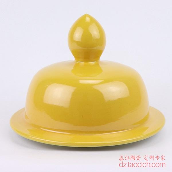 上图:盛江陶瓷定制颜色釉黄釉将军罐盖子正面 购买请点击图片