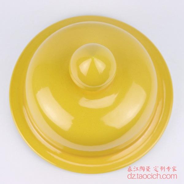 上图:盛江陶瓷定制颜色釉黄釉将军罐盖子顶部 购买请点击图片