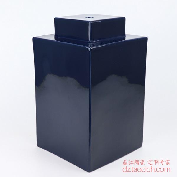 上图:颜色釉祭蓝(霁蓝)深蓝色四方陶瓷灯具主体侧面 购买请点击图片