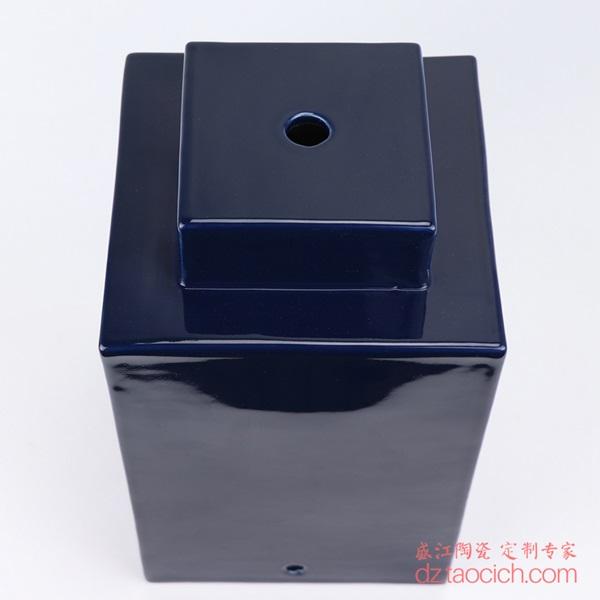 上图:颜色釉祭蓝(霁蓝)深蓝色四方陶瓷灯具主体顶部 购买请点击图片