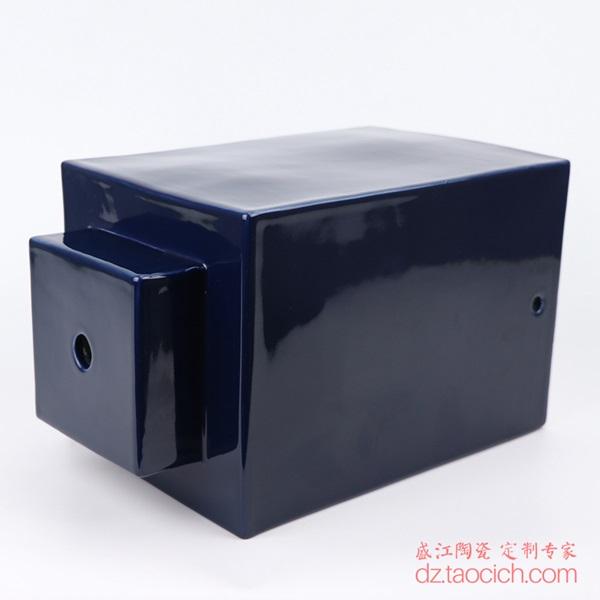 上图:颜色釉祭蓝(霁蓝)深蓝色四方陶瓷灯具主体侧部 购买请点击图片