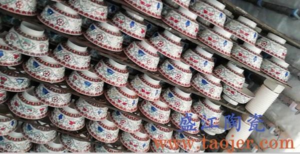 盛江陶瓷定制厂家为四川藏传佛教寺庙定制民族5.5寸八宝碗