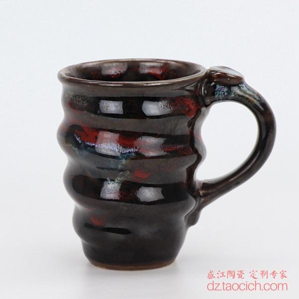 上图:盛江陶瓷定制景德镇陶瓷大学演讲用的颜色釉兰花釉紅釉螺旋马克杯子正面图 购买请点击图片