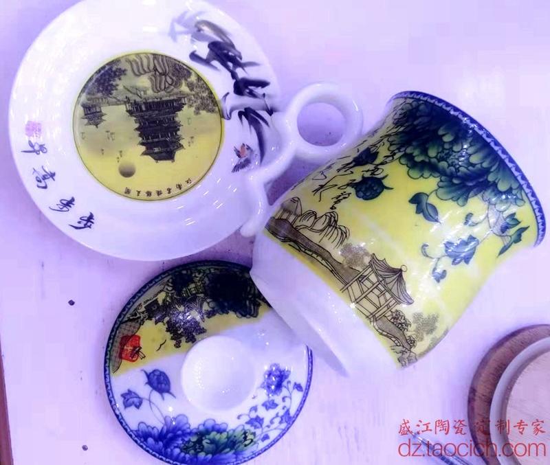 盛江陶瓷为首届南昌飞行大会定制的滕王阁茶杯-贴花花纸说明