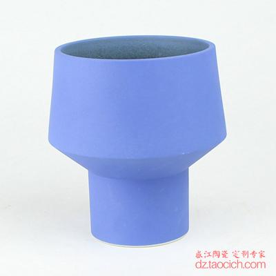 颜色釉磨砂釉蓝色异形宽口花瓶