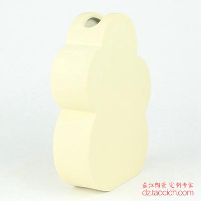 颜色釉磨砂釉米黄色异形花瓶